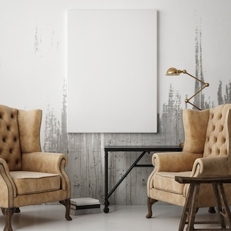 Plakat w salonie dwa fotele i dekoracja