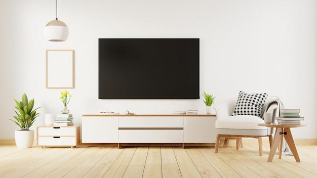 Plakat wewnętrzny makiety salonu z białą sofą. renderowanie 3d.