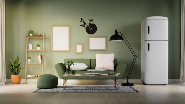 Plakat wewnętrzny makiety salonu z kolorową białą sofą. renderowanie 3d.
