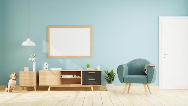 Plakat wewnętrzny makiety salonu z sofą. renderowanie 3d.