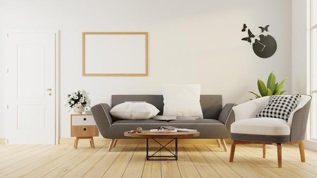 Plakat wewnętrzny makiety salonu z szarą sofą. renderowanie 3d.