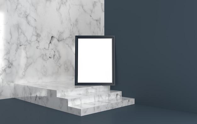 Plakat z czarną ramą na schodach, render 3d, makieta sceny