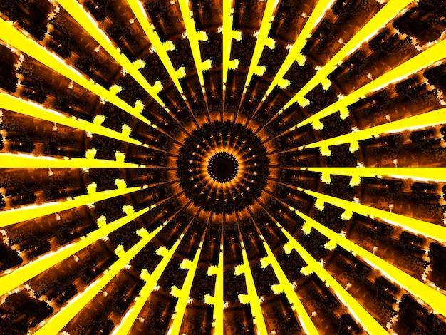 Plakat z motywem retro, żółty beżowy kolor z czarną gwiazdą pośrodku. wzór kalejdoskopowy i sześcienny.