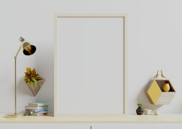 Plakat z pionem z roślinami w doniczkach i lampie, półka ścienna na pustej białej ścianie.