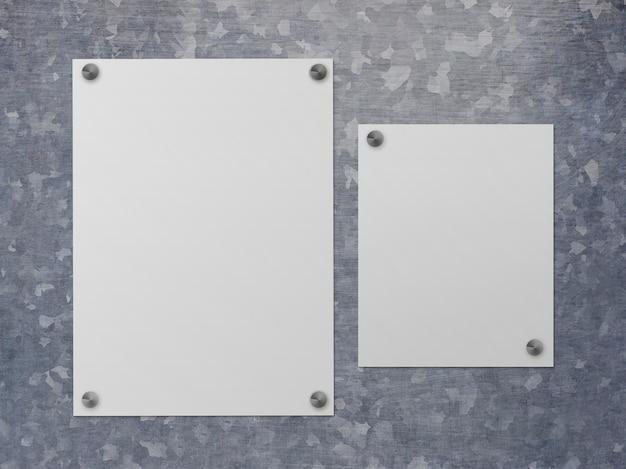 Plakaty na powierzchni stali na białym tle