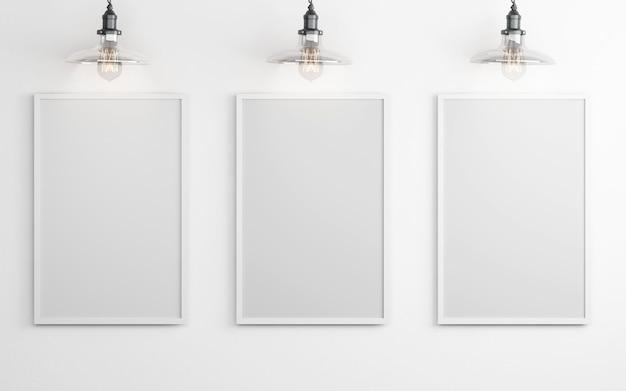 Plakaty z lampami na białym tle