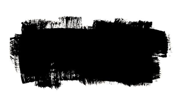 Plama pociągnięcia pędzlem grubym czarnym tuszem na białym tle na białym tle. ręcznie rysowana ilustracja rastrowa