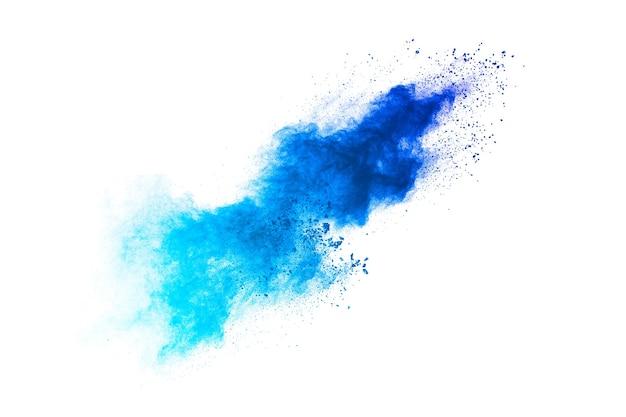 Plama proszku w kolorze niebieskim
