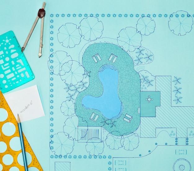 Plan architekta krajobrazu projekt podwórka dla willi
