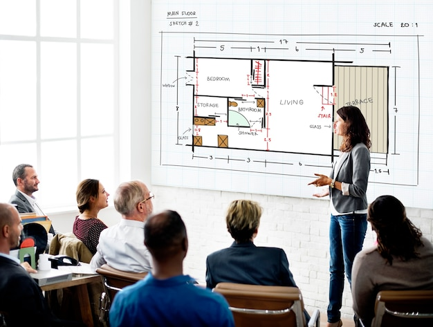 Plan architektoniczny architektura wnętrz koncepcja rozwoju struktury