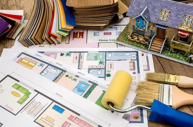 Plan architektoniczny domu, rozkład, narzędzie, kolorystyka