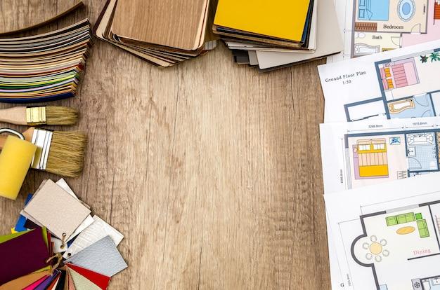 Plan architektoniczny domu, układ, narzędzia i kolorystyka