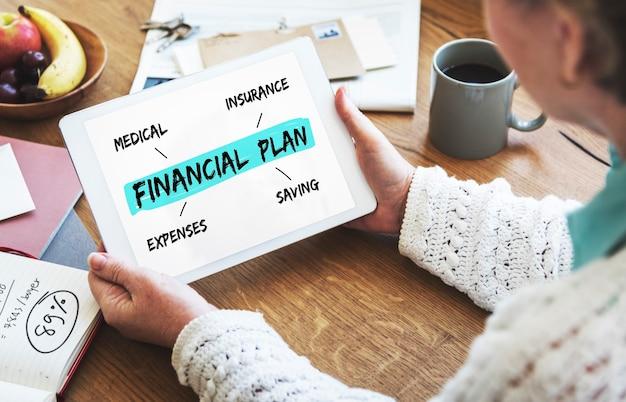Plan finansowy emerytura inwestycyjna koncepcja diagramu