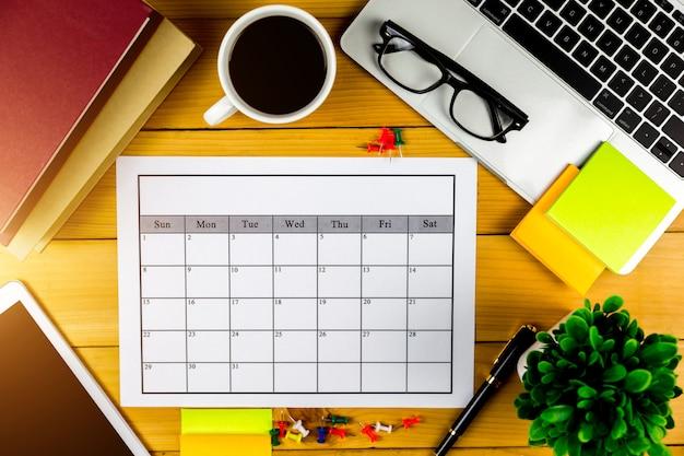 Plan kalendarza prowadzenie działalności lub czynności miesięcznie.