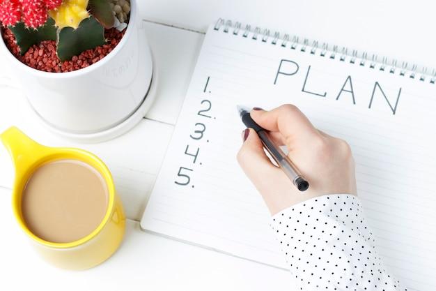 Plan napisu w notatniku