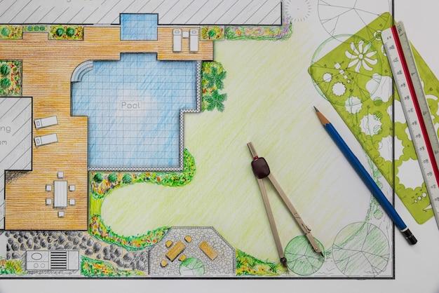 Plan projektu ogrodu przydomowego i basenu dla willi.