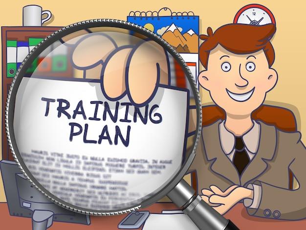 Plan treningowy. biznesmen w miejscu pracy biura pokazuje przez szkło powiększające tekst na papierze. wielobarwny doodle ilustracja.