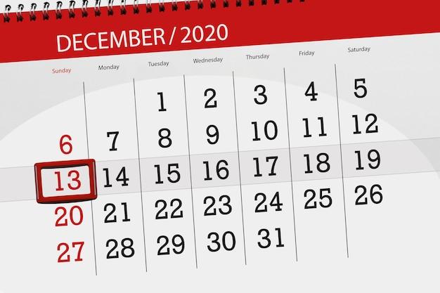 Planer kalendarza na miesiąc grudzień 2020 r., termin, 13, niedziela.