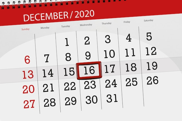 Planer kalendarza na miesiąc grudzień 2020 r., termin, 16, środa.