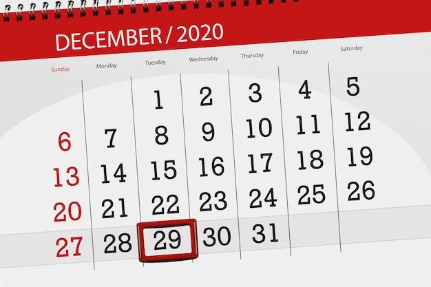 Planer kalendarza na miesiąc grudzień 2020 r., termin, 29, wtorek.