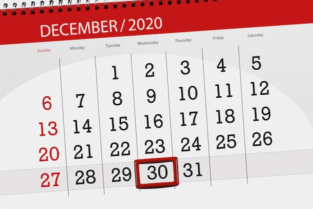 Planer kalendarza na miesiąc grudzień 2020 r., termin, 30, środa.