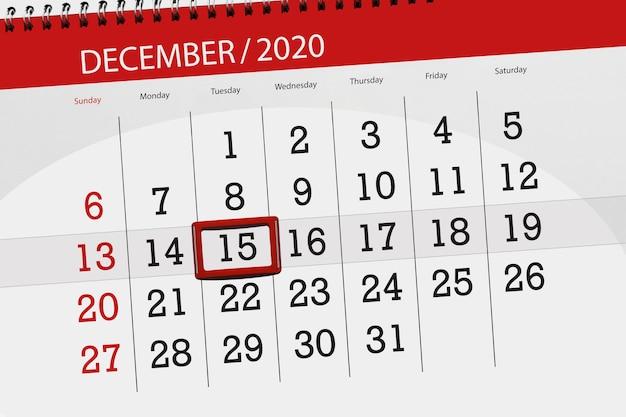 Planer kalendarza na miesiąc grudzień 2020, termin, 15, wtorek.