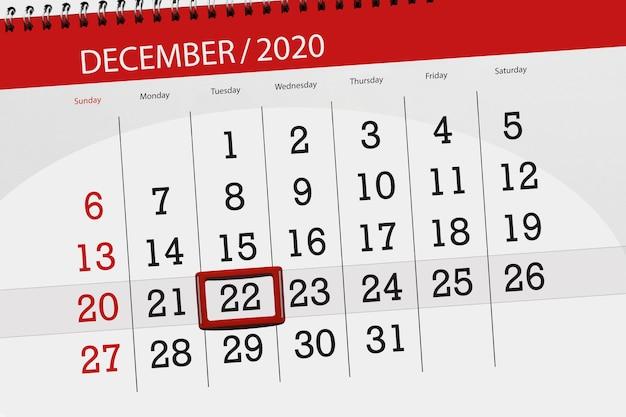 Planer kalendarza na miesiąc grudzień 2020, termin, 22, wtorek.