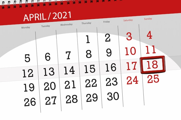 Planer kalendarza na miesiąc kwiecień 2021, termin, 18, niedziela.