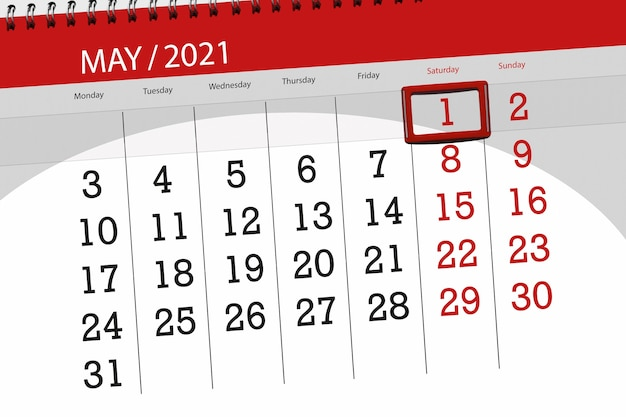 Planer kalendarza na miesiąc maj 2021, termin, 1, sobota.