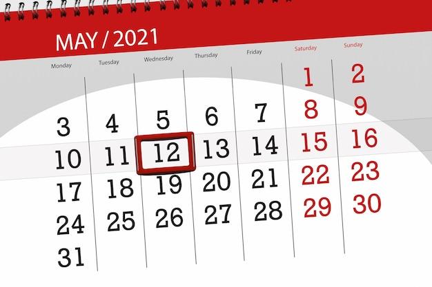 Planer kalendarza na miesiąc maj 2021, termin, 12, środa.