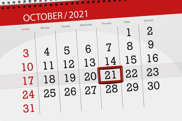 Planer kalendarza na miesiąc październik 2021, dzień ostateczny, 21, czwartek.