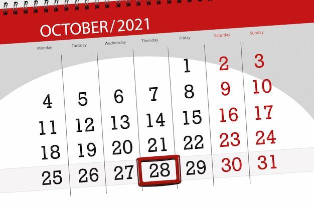 Planer kalendarza na miesiąc październik 2021, dzień ostateczny, 28, czwartek.