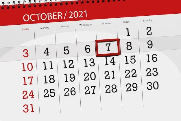 Planer kalendarza na miesiąc październik 2021, dzień ostateczny, 7, czwartek.
