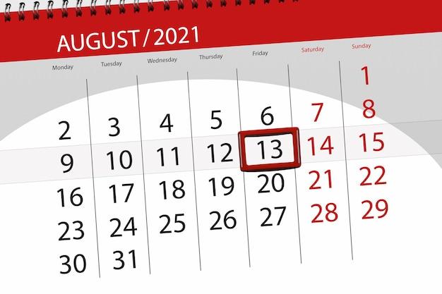 Planer kalendarza na miesiąc sierpień 2021, dzień ostateczny, 13, piątek.