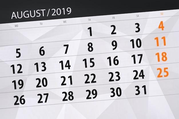 Planer kalendarza na miesiąc, termin dnia tygodnia 2019 sierpnia