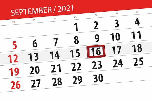Planer kalendarza na miesiąc wrzesień 2021, dzień ostateczny, 16, czwartek.