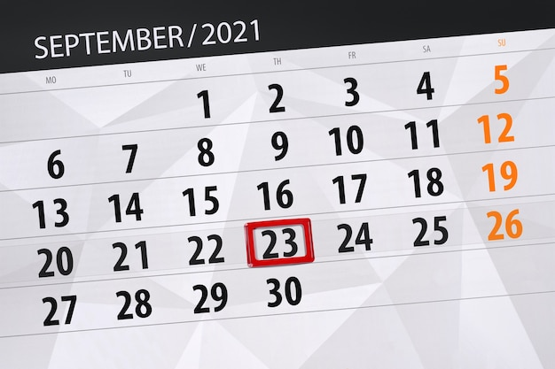 Planer kalendarza na miesiąc wrzesień 2021, dzień ostateczny, 23, czwartek.