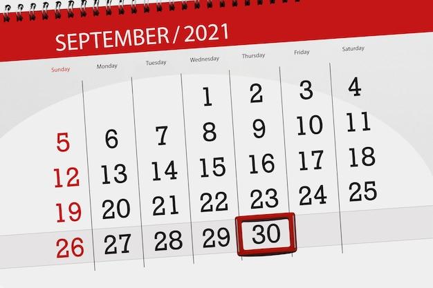 Planer kalendarza na miesiąc wrzesień 2021, dzień ostateczny, 30, czwartek.