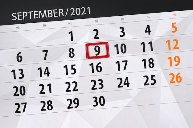 Planer kalendarza na miesiąc wrzesień 2021, dzień ostateczny, 9, czwartek.