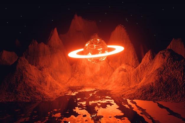 Planeta i pierścień w centrum w otoczeniu gór