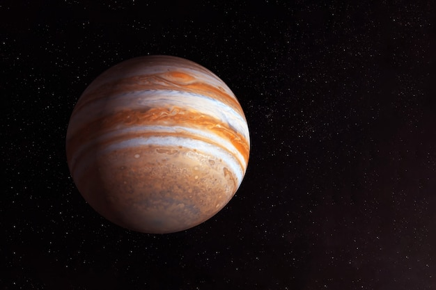 Planeta jowisz na ciemnym tle od dołu elementy tego zdjęcia zostały dostarczone przez nasa