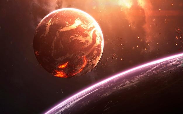 Planeta lawy, niesamowita tapeta science fiction, kosmiczny krajobraz. elementy tego zdjęcia dostarczone przez nasa