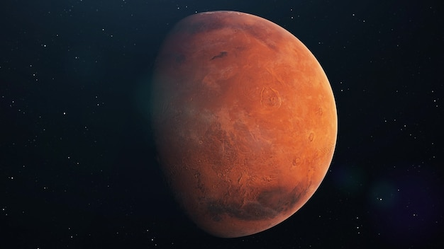 Planeta mars wirująca w otwartej przestrzeni nad gwiazdami