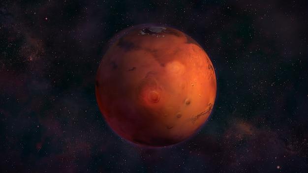 Planeta mars z kosmosu z widokiem na nix olympica