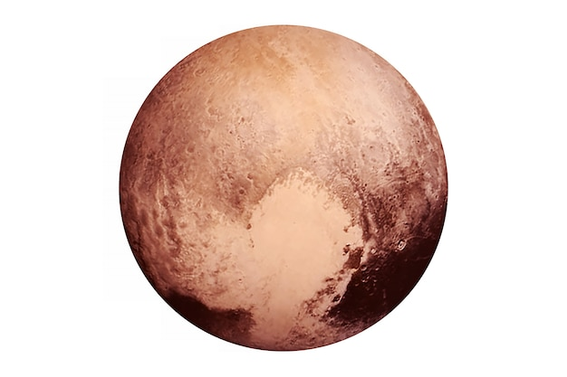 Planeta pluton na białym tle elementy tego obrazu zostały dostarczone przez nasa