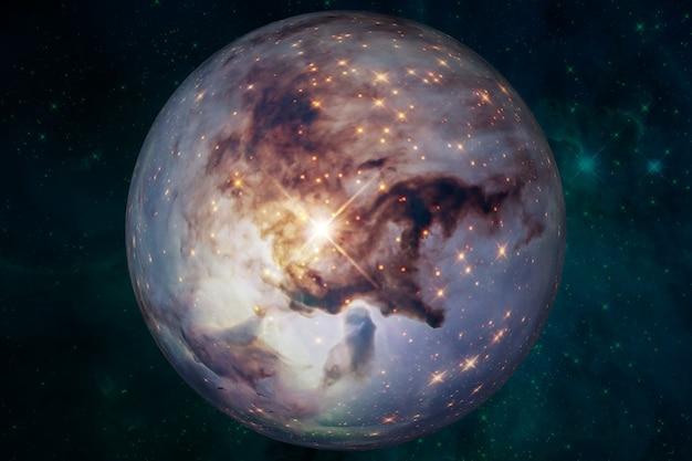 Planeta w kosmosie, satelita gwiazdy. planeta super-ziemi, realistyczna egzoplaneta odpowiednia do kolonizacji, planeta podobna do ziemi w dalekiej przestrzeni, renderowanie 3d