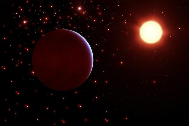 Planeta w pobliżu gwiazdy elementy tego zdjęcia zostały dostarczone przez nasa. zdjęcie wysokiej jakości