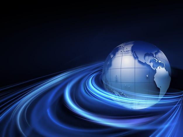 Planeta w tle abstrakcyjnej technologii promieni