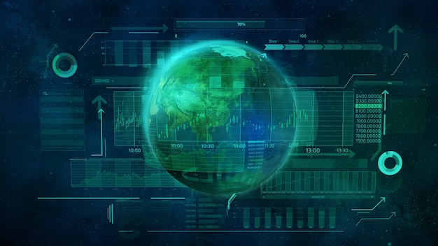 Planeta ziemia i infografiki biznesowe przedstawiające ruch cyfrowy w globalnej gospodarce