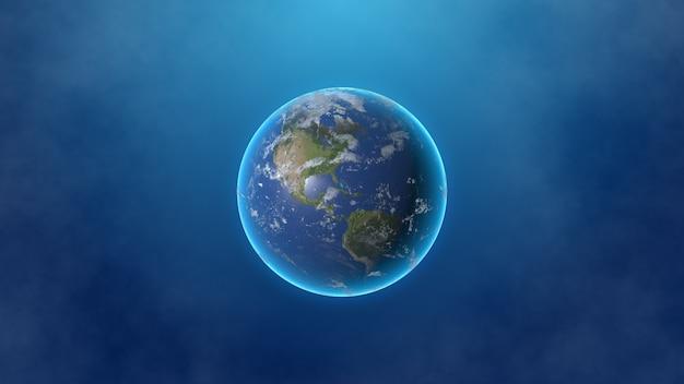 Planeta ziemia na białym tle na zadymionym tle